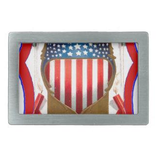 American badge and bald eagle belt buckle