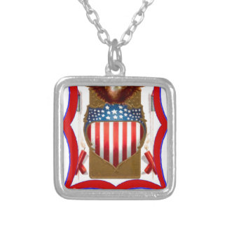 American badge and bald eagle custom necklace