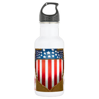 American badge and bald eagle stainless steel water bottle