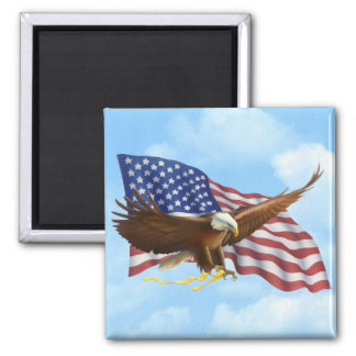 American Bald Eagle 2 Inch Square Magnet