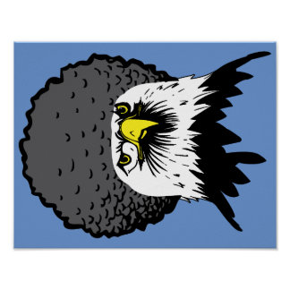 American Bald Eagle Afro Funny Poster Sign