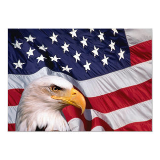 American Bald Eagle and American Flag Card