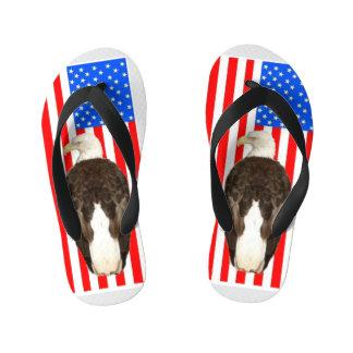 American Bald Eagle And American Flag Kid's Flip Flops