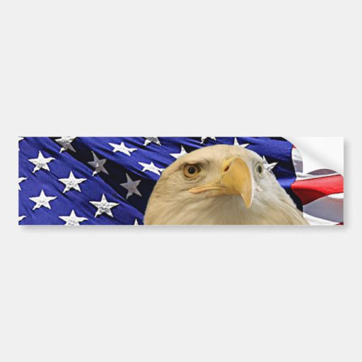 American Bald Eagle and Flag Bumper Stickers