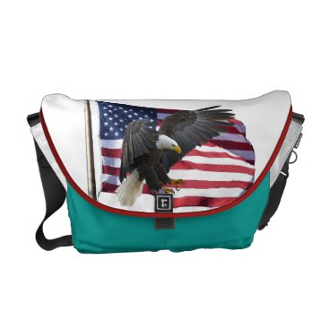American Bald Eagle and Flag Courier Bag