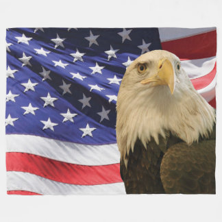 American Bald Eagle and Flag Fleece Blanket