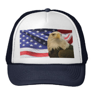 American Bald Eagle and Flag Trucker Hat