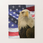 """American Bald Eagle and Flag Jigsaw Puzzle<br><div class=""""desc"""">The Bald Eagle is America&#39;s symbol for freedom. We often add the Bald Eagle with the American flag in the background. Always looking for some great animal photos. Contact me for details. Send a message to sandy@sandyspider.com or sandyswebnetwork@gmail.com if you would like to see any of these designs on a...</div>"""