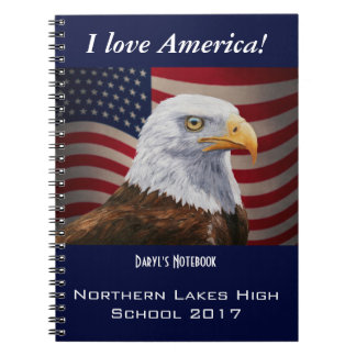 American Bald Eagle and Flag Notebook