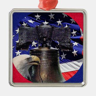 American Bald Eagle and Flag Ornament