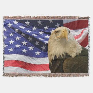 American Bald Eagle and Flag Throw Blanket