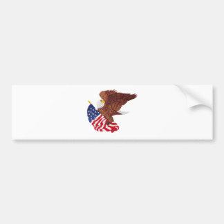 American Bald Eagle and the American Flag Bumper Sticker