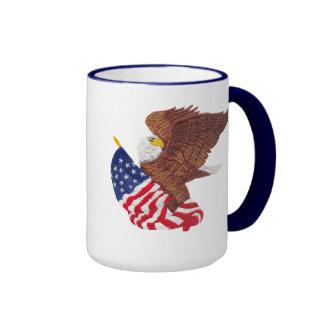 American Bald Eagle and the American Flag Ringer Mug