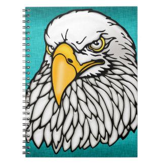 American bald eagle aqua blue spiral notebook
