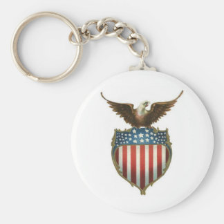 American Bald Eagle atop the stars and stripes Keychain