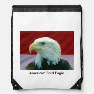 American Bald Eagle Backpack Drawstring Bag