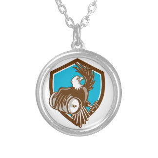 American Bald Eagle Beer Keg Crest Retro Round Pendant Necklace