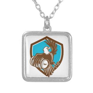 American Bald Eagle Beer Keg Crest Retro Square Pendant Necklace