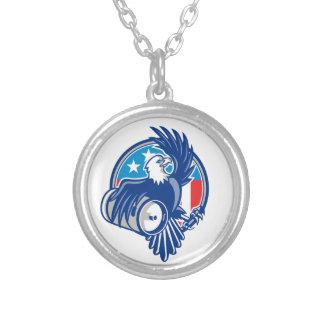 American Bald Eagle Beer Keg Flag Circle Retro Round Pendant Necklace