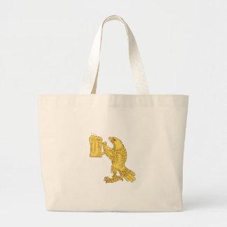 American Bald Eagle Beer Stein Drawing Large Tote Bag