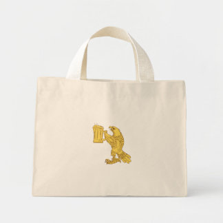 American Bald Eagle Beer Stein Drawing Mini Tote Bag
