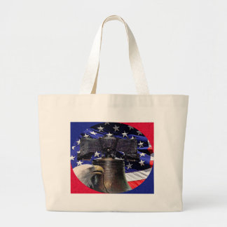 American Bald Eagle, Bell and Flag Large Tote Bag