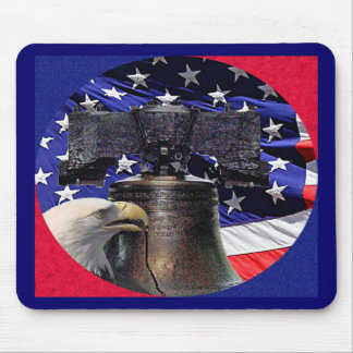 American Bald Eagle, Bell and Flag Mouse Pad