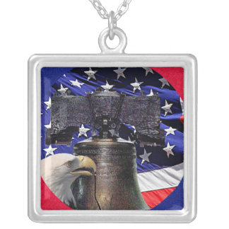 American Bald Eagle, Bell and Flag Necklace