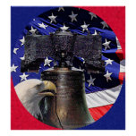 American Bald Eagle, Bell and Flag Poster