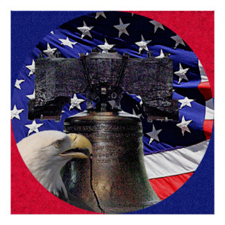 American Bald Eagle, Bell and Flag Poster XLG Size