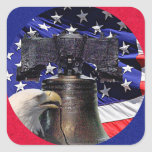 American Bald Eagle, Bell and Flag Sticker