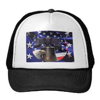 American Bald Eagle, Bell and Flag Trucker Hat