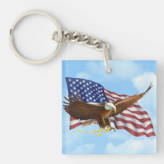 American Bald Eagle Double-Sided Square Acrylic Keychain