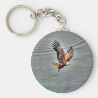 American Bald Eagle Flying Over Ocean Keychain