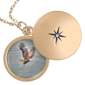 American Bald Eagle Flying Over Ocean Locket Necklace