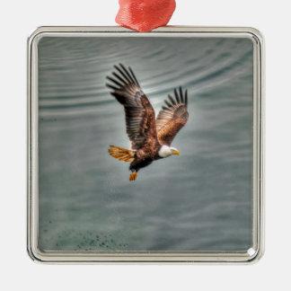 American Bald Eagle Flying Over Ocean Metal Ornament