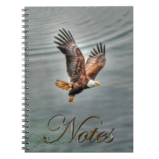 American Bald Eagle Flying Over Ocean Spiral Note Books
