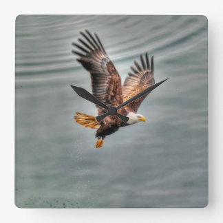 American Bald Eagle Flying Over Ocean Square Wall Clock