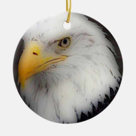 'American Bald Eagle in Portrait' Ceramic Ornament