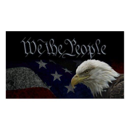 American Bald Eagle on Flag Business Card Templates