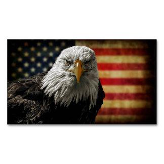 American Bald Eagle on Grunge Flag Business Card Magnet