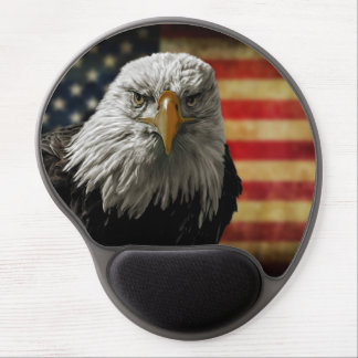 American Bald Eagle on Grunge Flag Gel Mouse Pad