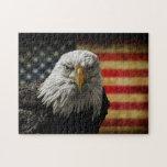 American Bald Eagle on Grunge Flag Jigsaw Puzzle