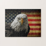 "American Bald Eagle on Grunge Flag Jigsaw Puzzle<br><div class=""desc"">Oil painting of a majestic Bald Eagle against a photo of a battle distressed American Flag. Great patriotic image.</div>"