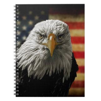 American Bald Eagle on Grunge Flag Note Book