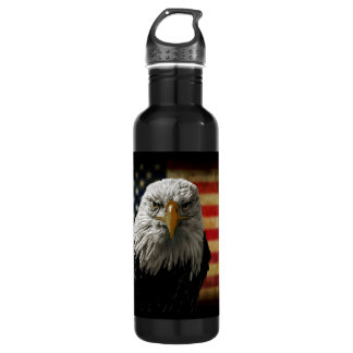 American Bald Eagle on Grunge Flag Stainless Steel Water Bottle