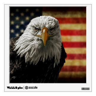 American Bald Eagle on Grunge Flag Wall Decal