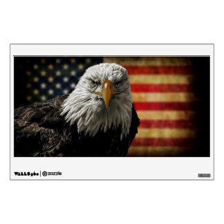 American Bald Eagle on Grunge Flag Wall Sticker