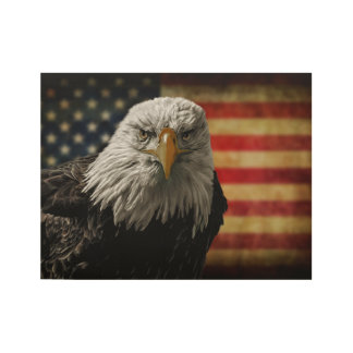 American Bald Eagle on Grunge Flag Wood Poster