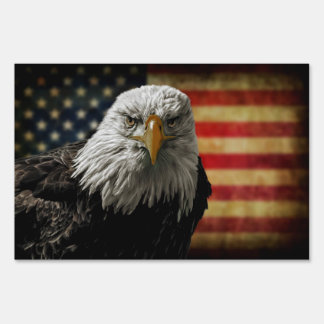 American Bald Eagle on Grunge Flag Yard Signs